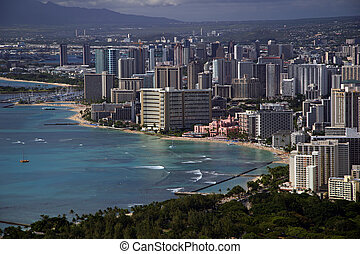Waikiki Beach - a view of waikiki beach from atop diamond...