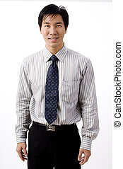Asian Businessman - A young asian businessman on white...