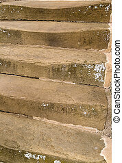 Worn stone steps - Old stone steps worn down with use