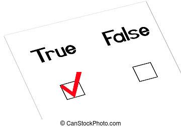 True-angled - True and false question with a checkmark