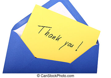 Thank you - Digital photo of a blue envelope with a letter...