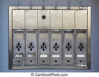 Apartment Mailboxes - A row of metal mail boxes for an old...