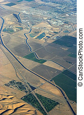 Aqueduct from the Air - A section of the California aqueduct...