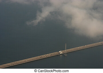 Bridge over Water - A low bridge over San Francisco bay with...