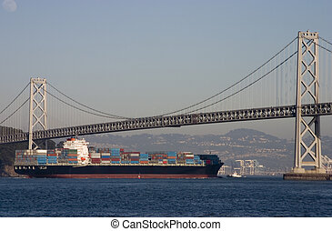 Container Ship under Bridge - A container ship passes below...