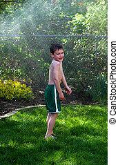 男孩, 噴射, 洒水器