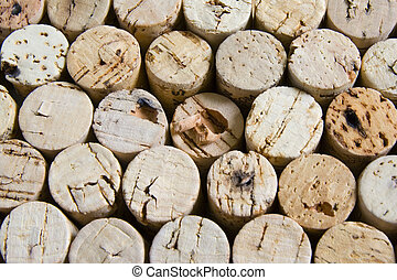 Wine corks in horizontal stacked arrangement. - Colorful...