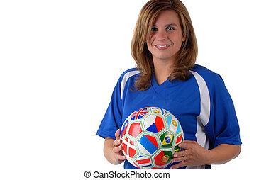 Spieler, fussball, weibliche