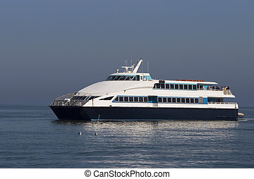 Ferry Boat - A ferry boat pulling up to San Francisco's...