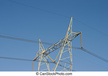 High Power Lines - High voltage lines are held aloft by a...