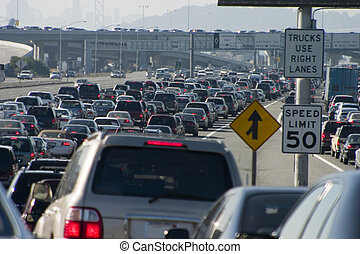 Major Traffic Jam 1 - Rush-hour traffic approaching the...