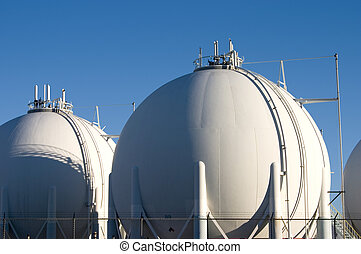 Oil Refinery 4 - The storage tanks of a modern oil refinery.