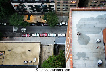 Over the Brink - A jumper's view of the street below. A...