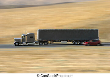 Speeding Truck 2 - A tractor-trailer hauls some stuff down...