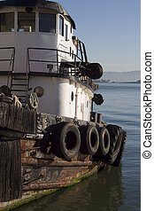 Tugboat 3 - A tugboat chugs along in San Francisco bay.