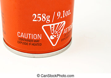 warning label - caution symbols on a can