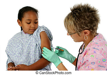Nurse And Patient - Nurse giving shot to scared little girl...