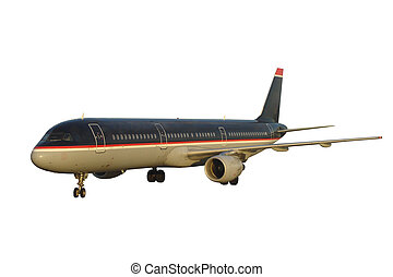 Modern Passenger Jet - Airplane Isolated, Clipping Path...