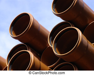 Stack of pipes - Stack of building pipes on the construct...