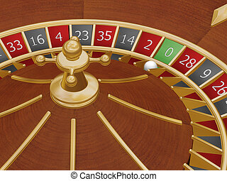 Roulette wheel - 3D render of roulette wheel with ball...