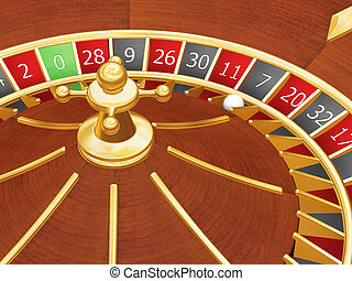 Lucky seven - 3D render of roulette wheel with ball landed...