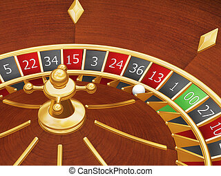 Unlucky thirteen - 3D render of roulette wheel with ball...