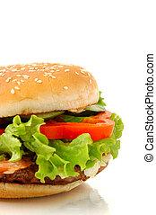 grande, hamburguesa, lado, vista, aislado