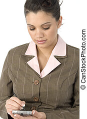 Using PDA - Beautiful young Hispanic business woman writing...