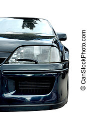 Black modern car front isolated