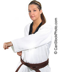 Woman Karate - Young woman doing karate