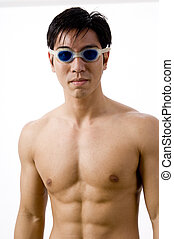 Asian Swimmer - A young male swimmer in goggles
