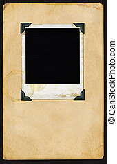 Polaroid on Page - Aged polaroid with photo corners on aged...