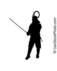 Japanese samurai silhouette - Japanese samurai in fighting...