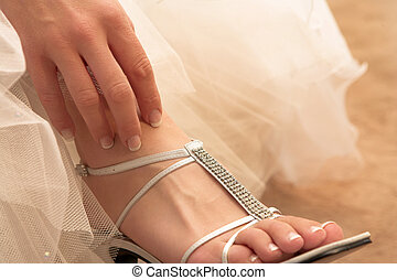 Wedding #29 - Close-up of bridal shoes.  Shallow D.O.F