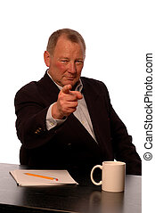 business executive - serious business man making gesture