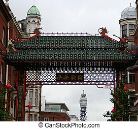 Chinatown arch BT tower, London