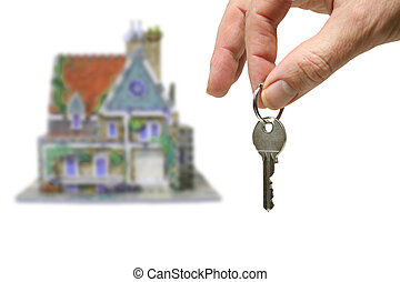 home - a new home, house with hand and key,isolated on white...