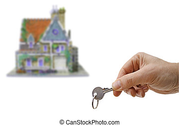 new home - house with hand and key, a new home isolated on...
