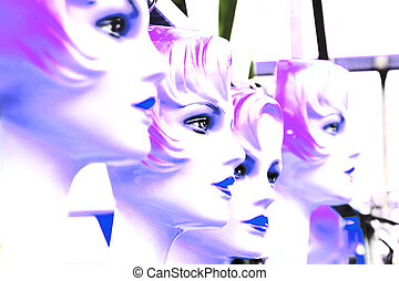 4 mannequins blue white - mannequins in a row duotone blue...