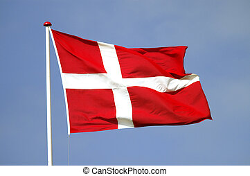Dannebro - A danish flag (called Dannebro) in the wind