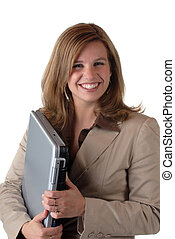 Woman With Laptop - Attractive Young Woman With Notebook...