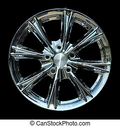 Titanium car rim texture isolated - Aluminium metal wheel...