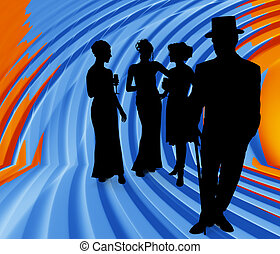 Silhouette Group - Silhouette over orange blue background of...