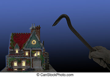 burglar - house with house-breaker and crowbar at night...