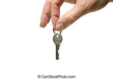 hand with key isolated on white background
