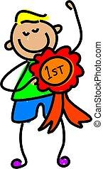 winning kid - little boy proudly displaying his winning...