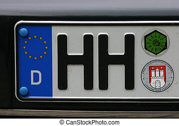 Hamburg plate - number plate - city of Hamburg, Germany