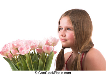 Pretty girl with tulips - Pretty girl with pink tulips
