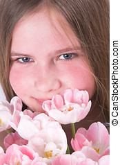 Pink beauty - Beautiful young girl with pink tulips for...