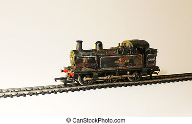 modelo, vapor, locomotora